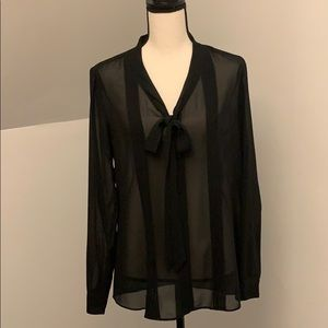 Sheer Black blouse with bow tie detail